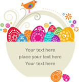 Fototapety Easter basket with colored eggs