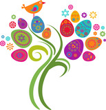 Fototapety Easter tree with eggs and flowers