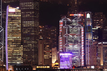 Details of business buildings at night in Hong Kong