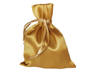 Golden sack on a white background