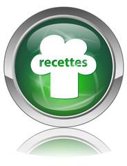 Bouton Web RECETTES (Idées Cuisine Plats Menu Chef Gastronomie)