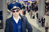 young pilot in Kastrup airport in terminal three, copenhagen