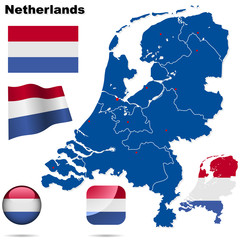 Netherlands vector set. Shape, flags and icons.