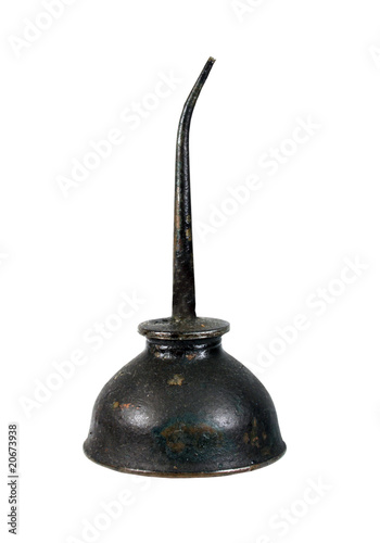 vintage grunge oil can isolated with path