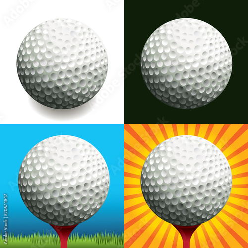 Golf ball on different backgrounds