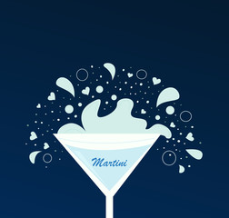 Martini drink in glass. Vector Illustration.