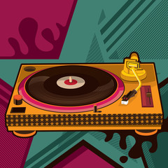 Gramophone with abstract background