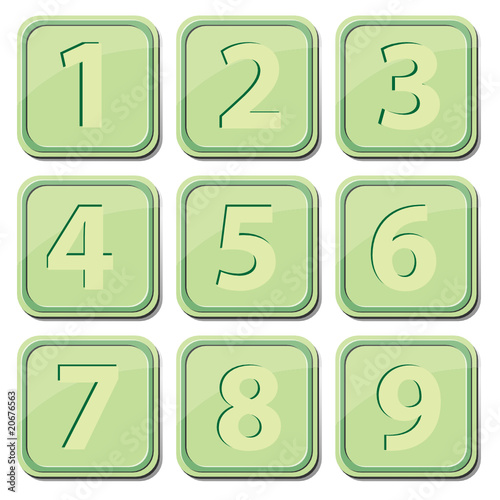 Button with numbers. Vector.