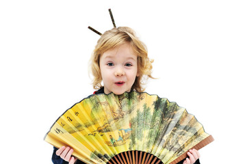 girl holding fan