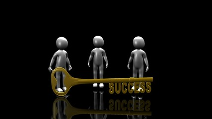 3D men holding the key to success