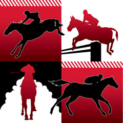 Isolated horse racing silhouettes