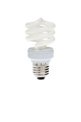 Power saving energy spiral lightbulb isolated.
