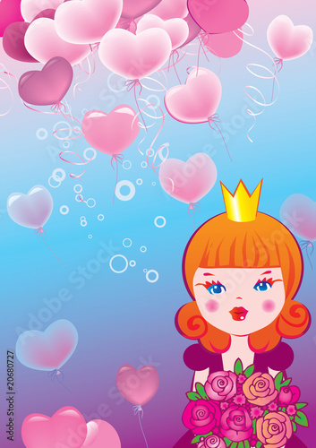 Foto op Aluminium Kasteel Princess on the background of hearts. Valentine's Day.