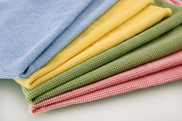 Set of four color honeycomb towels