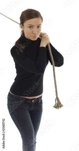 young, long hair, girl pulling grey rope, tug-of-war