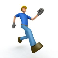 builder runs forward