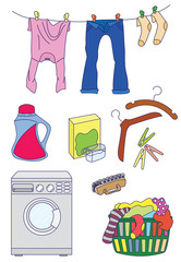 Laundry related icon set