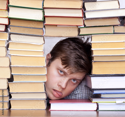 man between books