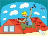Cartoon illustration of a workman - vector illustration poster