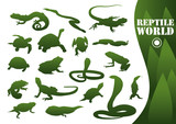 Reptile silhouettes isolated on white poster