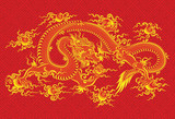 Red chinese dragon - vector illustration of mythological animal poster