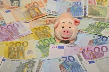 Geld, Banknoten, Währung, Euro, Sparschwein