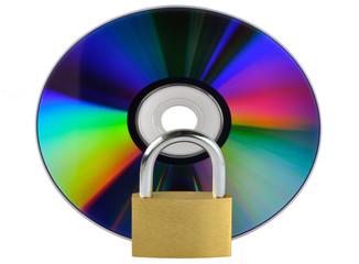 dati sicuri - dvd con lucchetto chiuso