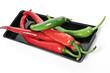 Rote und grüne Pepperoni