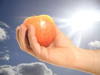 mela in mano con sole