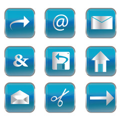 Blue square buttons with pc icons