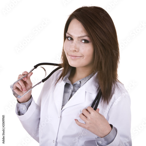 Medicine doctor with stethoscope. Isolated.