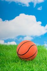 an orange basketball on a green lawn against a blue cloudy sky