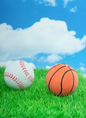 an orange basketballand a white baseball on a green lawn against