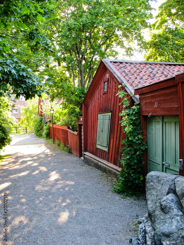 Wooden houses in Stockholm streets (Sweden)