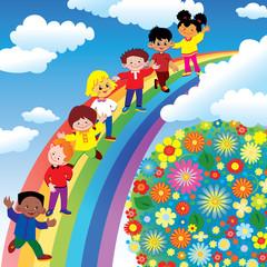 Children on rainbow slide. Vector art-illustration.