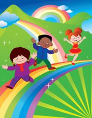 Kids are running around on a rainbow.