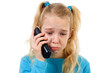 Sad girl on the phone over white background