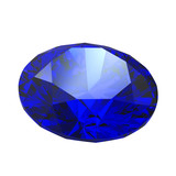 Sapphire gemstone isolated on white background poster