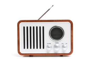 Old fashioned radio over white background