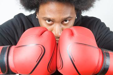 African American Boxer pose
