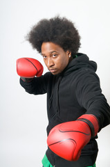 African American Boxer in attack