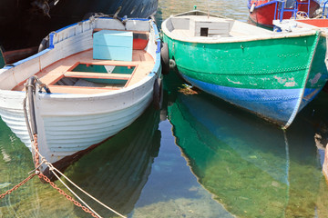 Wooden boats at pier