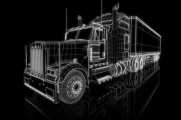 US Truck - perspective 3d construction