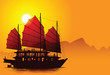 Silhouette of chinese junk - 20711538