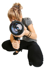 Young photographer on white background