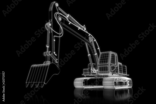 Shovel excavator - perspective 3d construction
