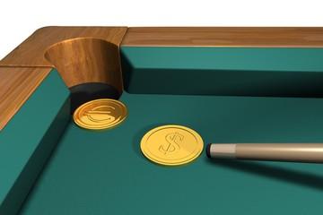 Dollar strikes euro in billiard game