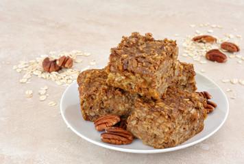 Healthy, homemade pecan oatmeal snack bars.