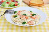 Shrimp Fettucini in Alfredo Sauce