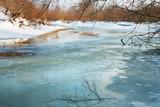 Frozen river. Melt in spring poster